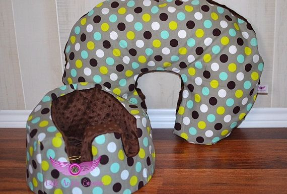 Gray And Brown Polka Dot and Brown Minky by LittleAngelsEmporium, $47.00