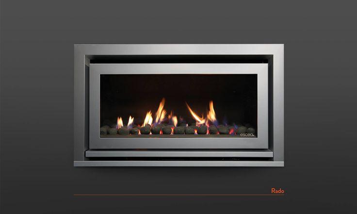 Escea DL850 fireplace with Titanium Silver Rado Fascia and a Black Coals Fuel Bed.  www.escea.com