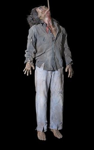 scary halloween animated hanging dead man prop