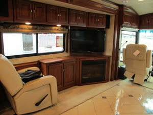 Tour Bus For Sale >> Living room in our RV with fireplace and TV.   Rv living, Rv life, Camping glamping