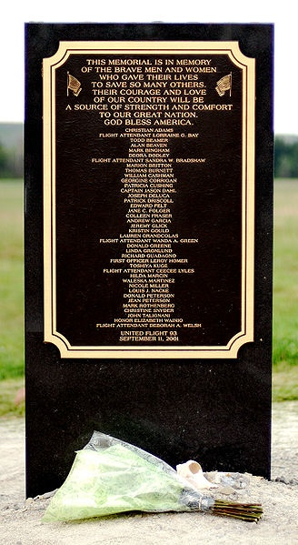 United Airlines Flight 93 Memorial Plaque