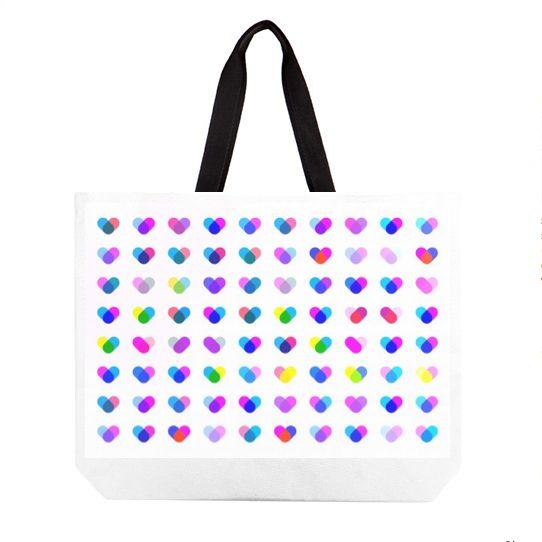 Multi Hearts beach bag   #fimbis #ArtRookie #hearts #colourful #valentines #style #styleblog #fashion #fashionblogger #fashionblog #styleblogger #cyan #beachbag #magenta #valentinesday #cyan #bag #ukdesign #irishdesign #irishart #fblogger #luggage #home #cute #purple #school #dormlife
