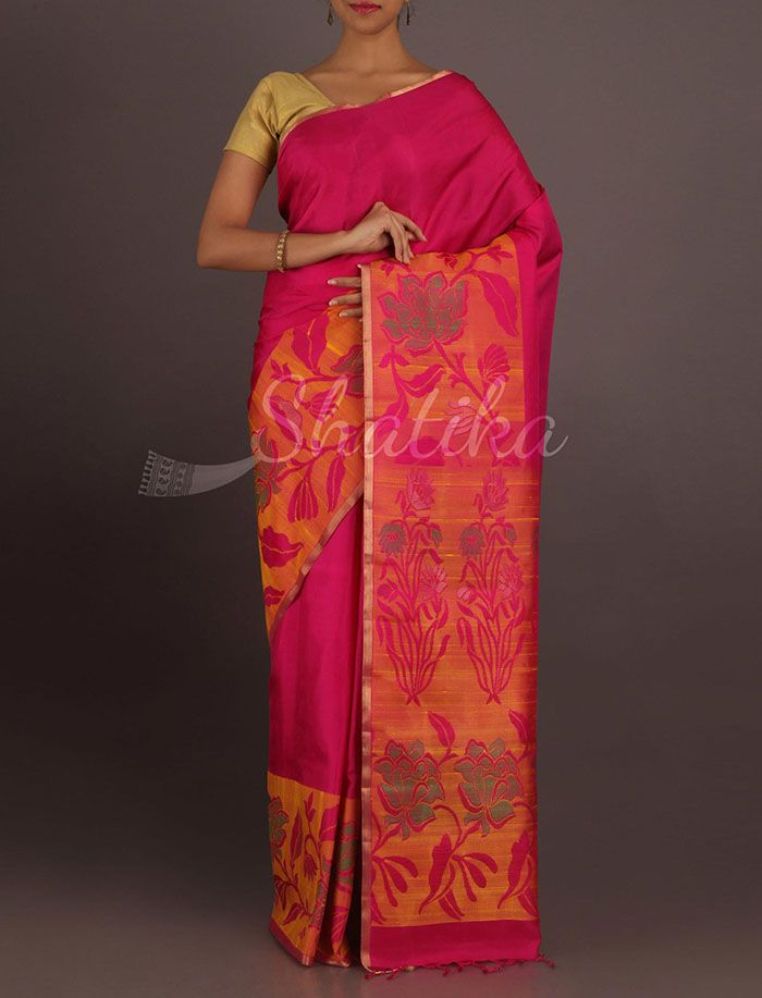 Vasavi Pink With Broad Designer Border Pallu Pure #PattuSilkSaree