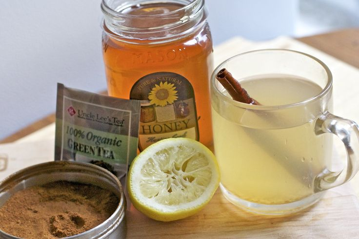 morning detox drink for weight loss and metabolism. Green Tea with lemon, honey, cayenne, and cinnamon