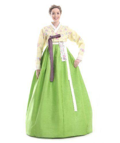Custom Made Silk Yellow Green Embroidery Flower Evening Hanbok Korean Dress