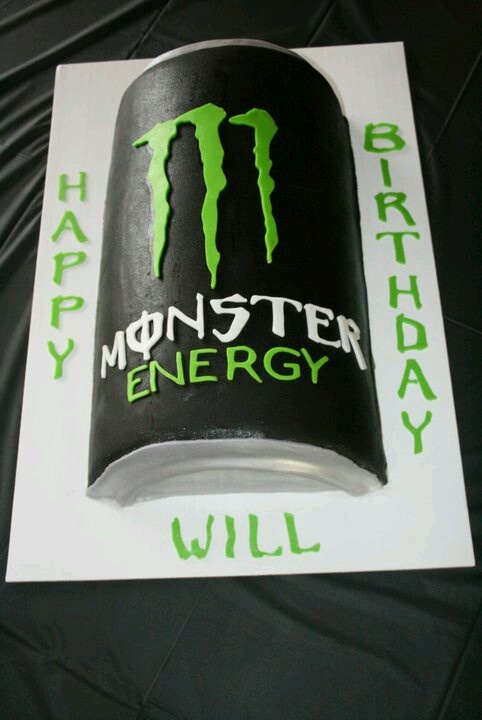 Monster energy drink birthday cake.