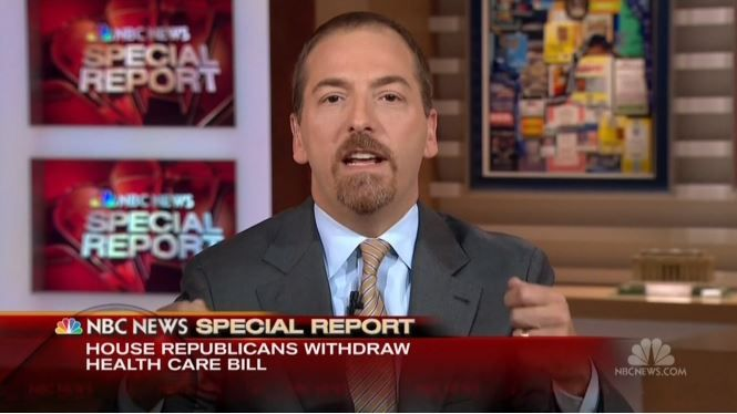 "03-24-2017  Minutes after the GOP leadership-led bill American Health Care Act (AHCA) was pulled from the House, NBC's Meet the Press moderator Chuck Todd concocted the loony idea that the AHCA failed not because it couldn't unite all factions of the GOP but that they chose not to work with Democrats. Over on ABC, former Clinton partisan George Stephanopoulos and correspondent Jonathan Karl were a bit overly dramatic, boasting of the ""crushing,"" ""devastating"" defeat for Republicans."