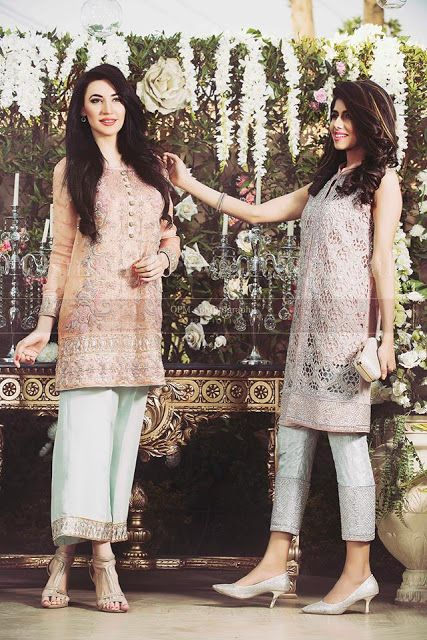 Pakistani Embroidered Party wear Formal Fancy Medium Shirts with Cigarette Pants Dresses For Girls