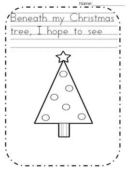 freebie christmas tree writing page kindergarten - Christmas Writing Pages