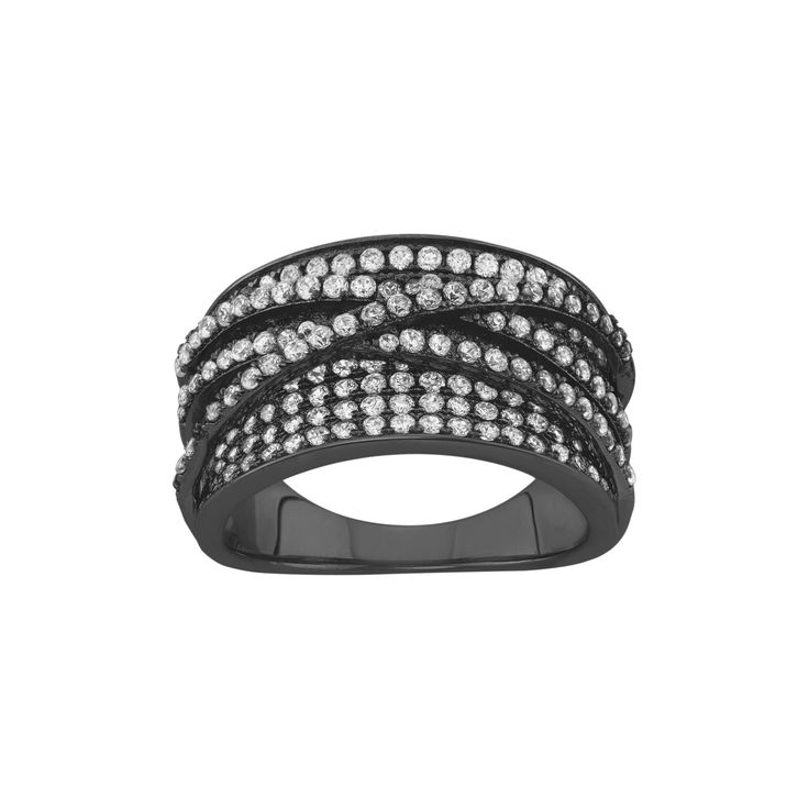 """2.15 CT. T.W. Curved """"x"""" Cubic Zirconia Ring In Black Rhodium Silver - (10), Women's"""