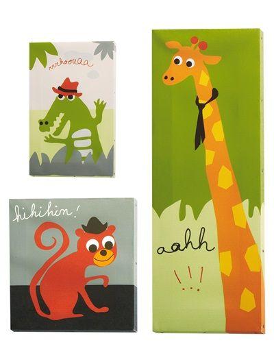 3 cuadros animales decoración habitación infantil LOTE DE 3