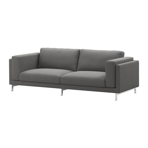 NOCKEBY Three-seat sofa - Risane grey, chrome-plated - IKEA