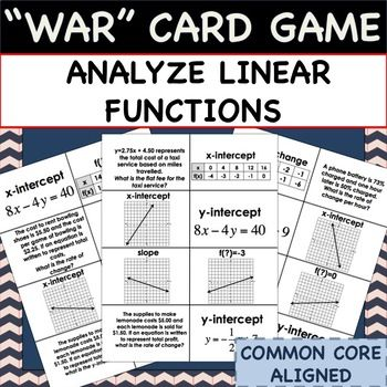 "This Analyze Linear Functions: MATH ""WAR"" CARD GAME is a fun way to review the characteristics of linear equations by analyzing tables, graphs, equations, and verbal descriptions. The game is modeled after the card game ""WAR"" and the directions are included."