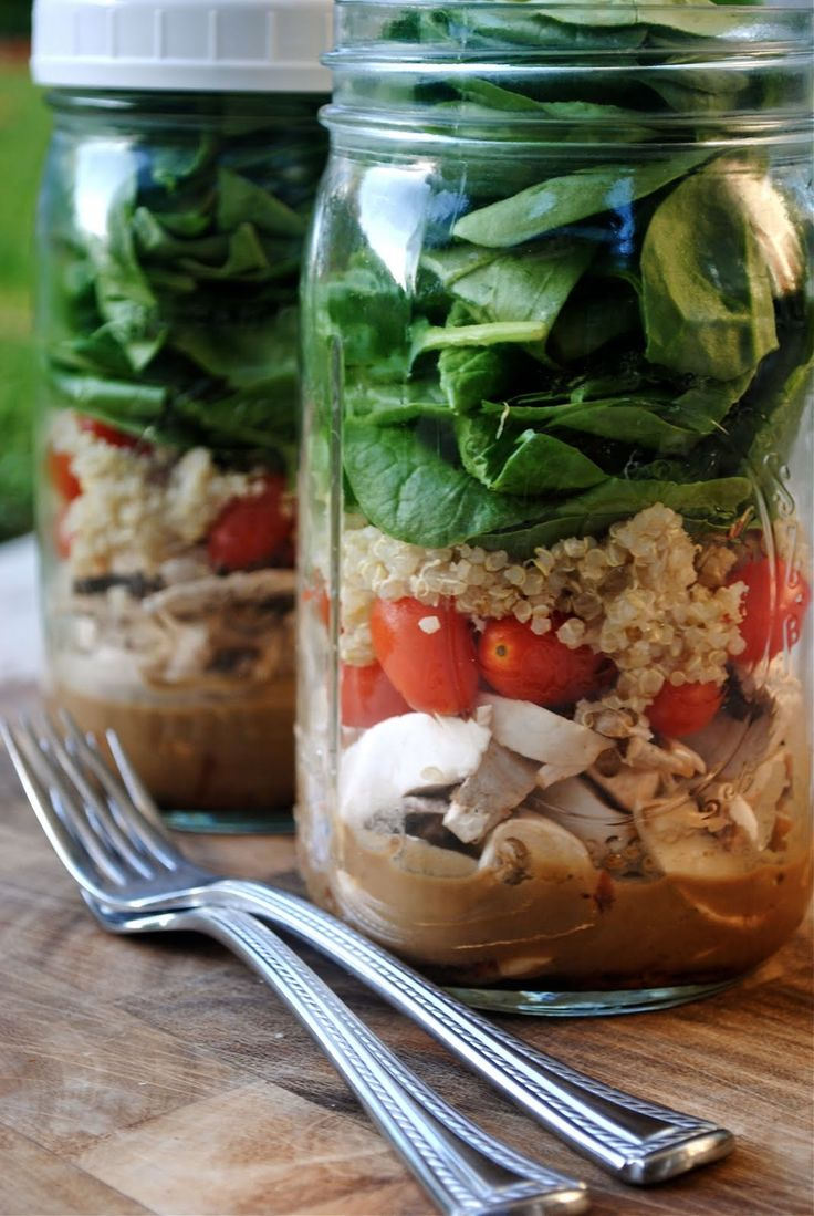 Great idea!!!!!~Salad in a Jar~ these salads can be made up to 4 days in advance and will stay fresh in the fridge with a lid on. This is one of my tricks to eating salad everyday for lunch at work. I make a few jars on Sunday night and just grab one to bring to work everyday. When you're ready to eat, just shake it up.