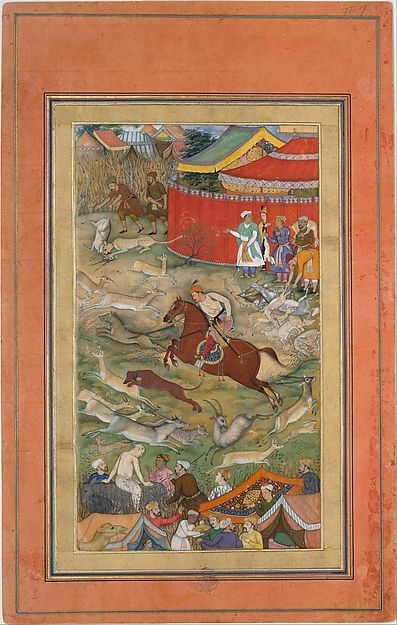 """Painting attributed to Manohar (active ca. 1582–1624).""""Hamid Bhakari Punished by Akbar"""", Folio from an Akbarnama, ca. 1604. The Metropolitan Museum of Art, New York. Theodore M. Davis Collection, Bequest of Theodore M. Davis, 1915 (30.95.174.8) 