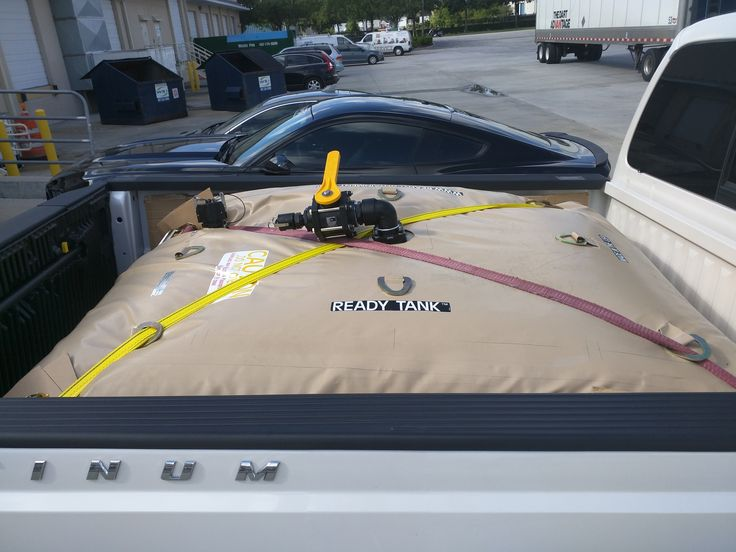 Ready Truck Bed Water Bladder. being used for load testing vehicles.