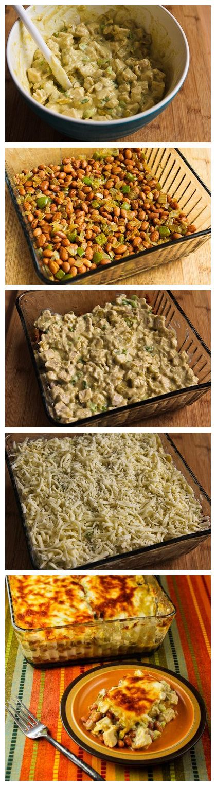 Layered Mexican Casserole Recipe with Chicken, Green Chiles, Pinto Beans, and Cheese - Recipebest