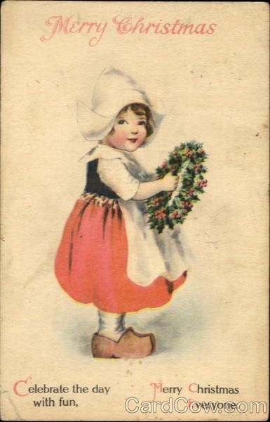 Merry Christmas - Ellen Clapsaddle - vintage - Dutch Children