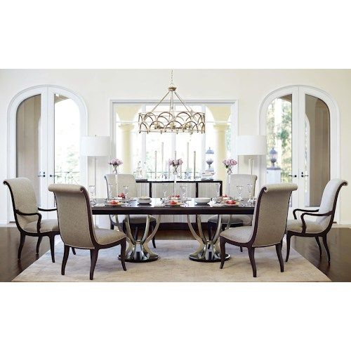 Miramont 7 Piece Dining Set With Double Pedestal Table And Upholstered Chairs By Bernhardt At Darvin Furniture