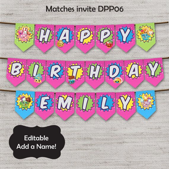 Shopkins Birthday Banner Shopkins Party Banner: 17 Best Images About Shopkins Party Ideas On Pinterest
