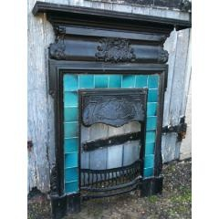 OR SALE : EDWARDIAN FIREPLACE Edwardian cast iron fireplace. Original glazed vivid turquoise blue tiles in excellent condition. Height 100cm x width 24cm. Pick up or arrange carriage from our North Yorkshire workshop. Contact : Scavengers, North Yorkshire, UK. Tel: 079393884997. Web : http://www.scavengers-uk.com Price : £250.00
