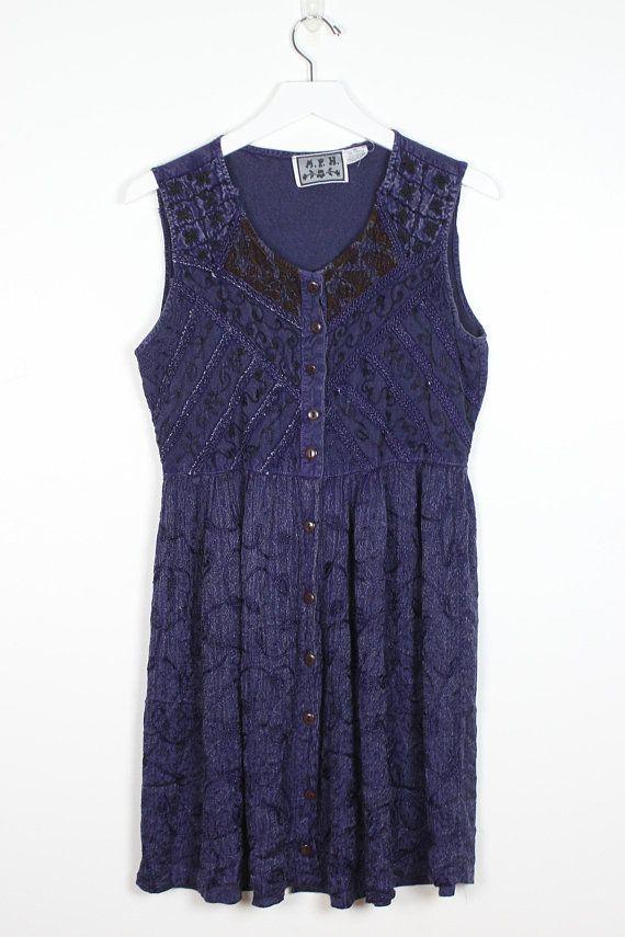 595a6194c3 Vintage 90s Dress Navy Blue Embroidered Boho Rayon Babydoll Dress Gauze  Festival Soft Grunge Dress 1990s Dress Hippie Dress M Medium L Large #1990s  #90s ...