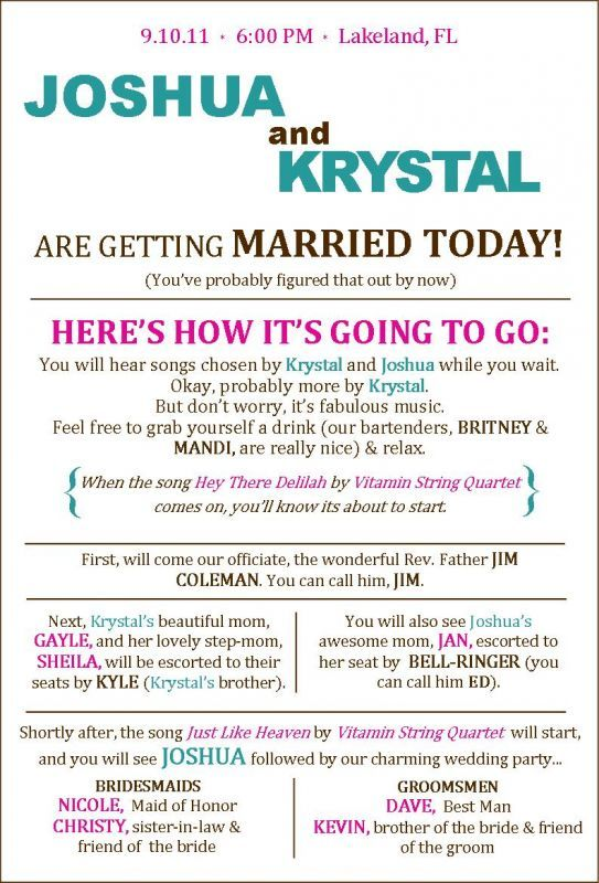 Best 25+ Funny Wedding Programs Ideas On Pinterest | Wedding Games