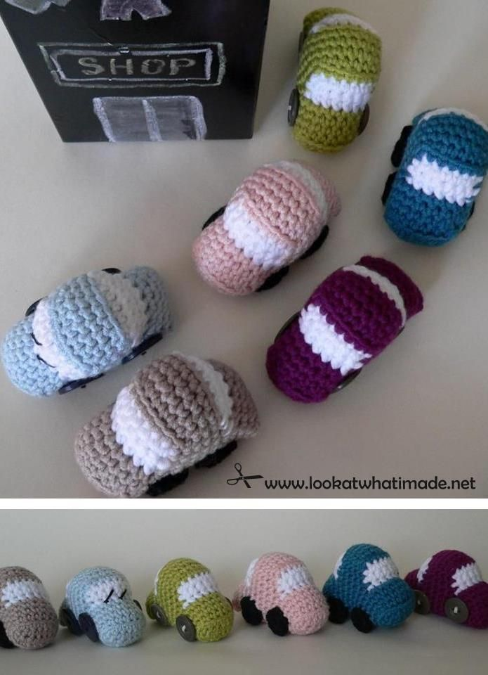Tiny Crochet Car Patterny Dedri Uys ...cute idea for boys or girls ....xmas /bday easter baskets etc....