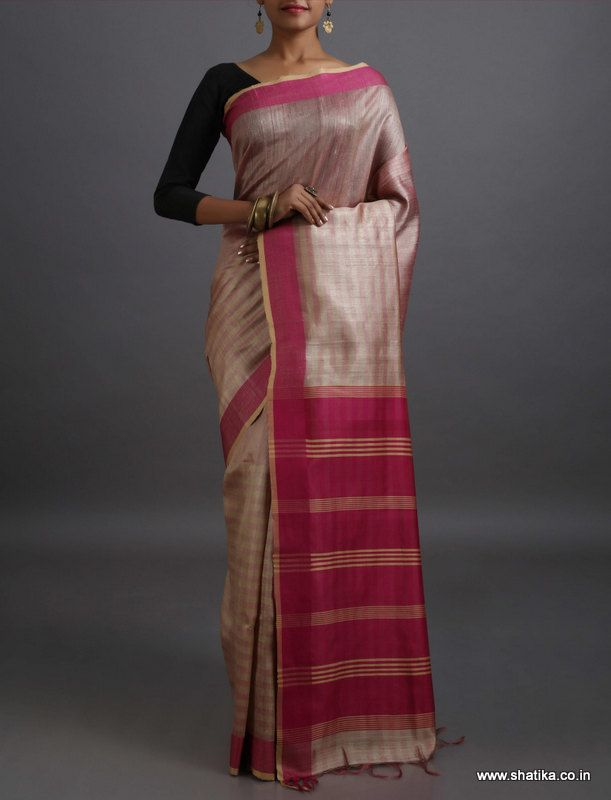 Driti plain with Contrast Stripe Pallu #KhadiSilkSaree