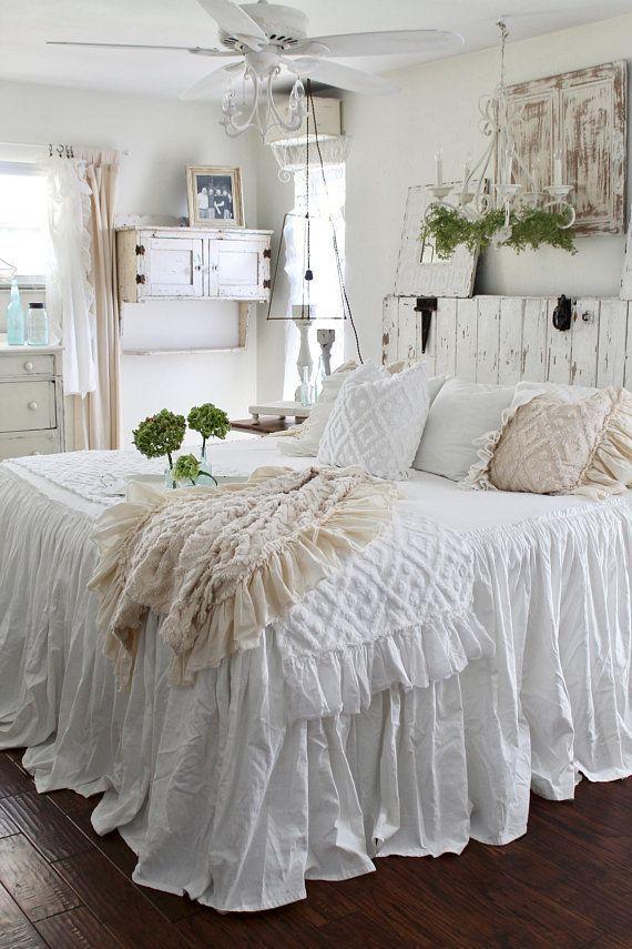 Ruffled BedSpread | Shabby Chic Bedding | Ruffled Bed Cover | Ruffled  Coverlet | Ruffled Bedding | Linen Bedding | Ruffled Bedding | Ruffle  Bedspread, ...