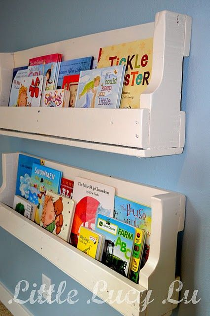 bookshelves made out of an old pallet :-)