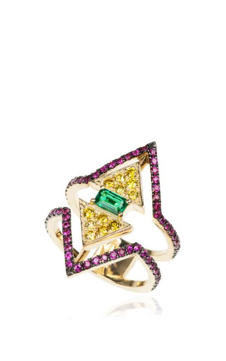 Ruby, Yellow Diamond And Emerald V Collection Ring by Nikos Koulis for Preorder on Moda Operandi