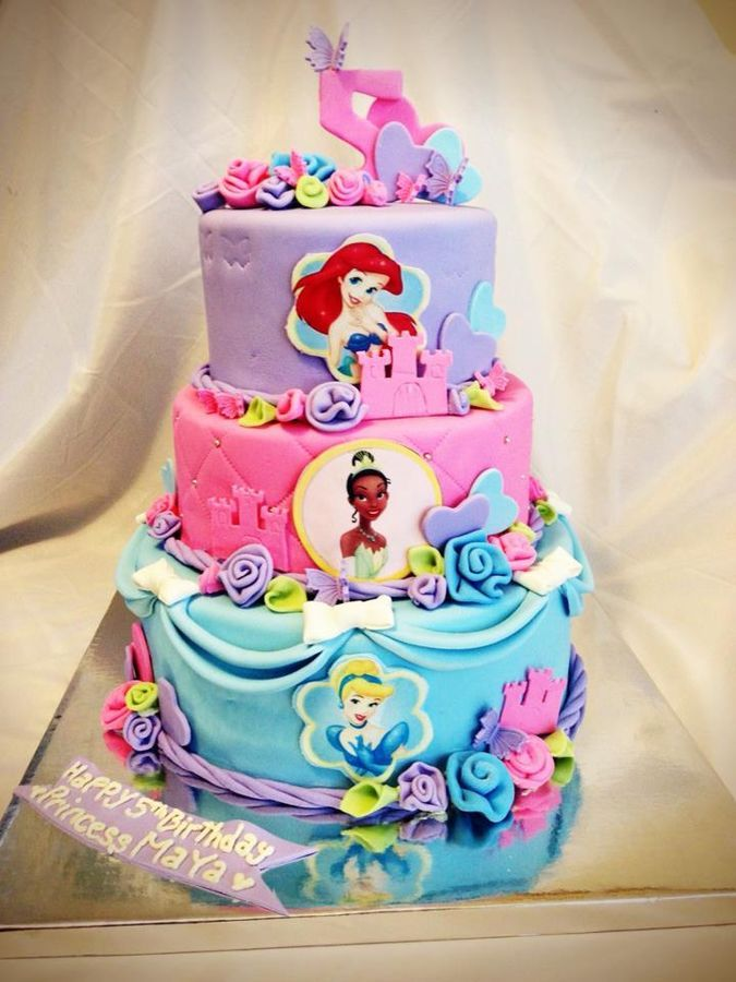 Disney Cake Designs Princesses : Three Tier Disney Princess Cake; Except I want Ariel ...