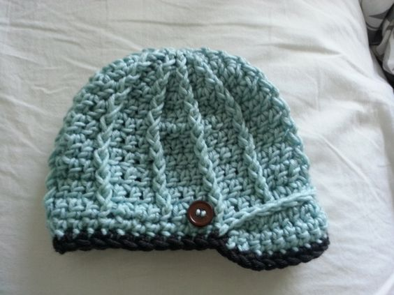 beanie is my pattern but brim is from a pattern for sale, can go by picture