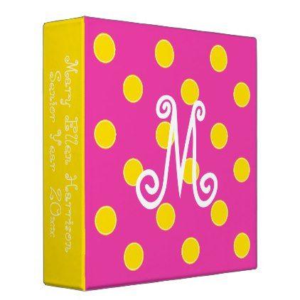 Diva Pink and Bright Yellow Polka Dot Monogram Binder - home decor design art diy cyo custom