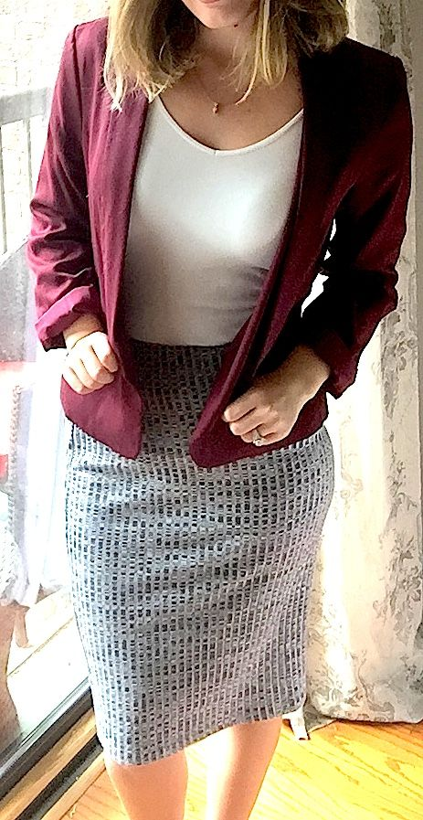 Stitch Fix Review Styling Card Brie Ribbed Pencil Skirt from 41Hawthorn business casual look