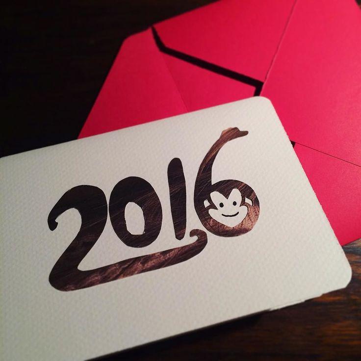 HAPPY NEW YEAR  . (남편과 함께 한국으로 보낸 새해 카드)  _  #핸드메이드#핸드메이드카드#카드#병신년#2016#해피뉴이어#데일리#원숭이#뉴질랜드#새해#handmade#handmadeCard#card#yearofthemonkey#happynewyear#craft#instadaily#フォロー