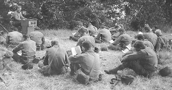First 300th Combat Engineers.church service after the Normandy invasion (mess - mis)