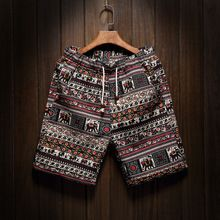 Cortocircuitos de la playa de la personalidad de impresión 2016 verano sección delgada transpirable confort casual hombres pantalones cortos de lino de gran tamaño M-5XL(China (Mainland))