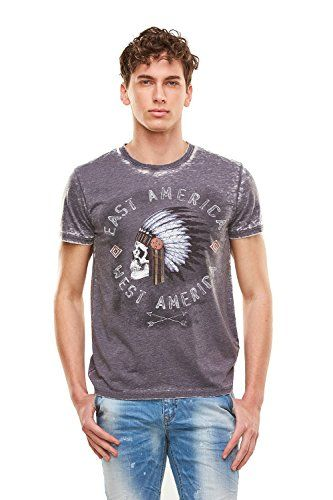 Men's T-shirt With Skull Print  #formen #clothing #fashion #fashiontshirt #skullprint #shortsleevetshirt #greytshirt