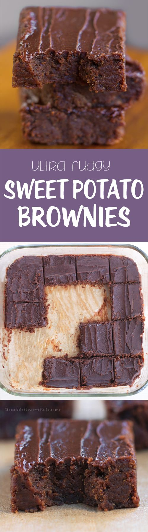Ingredients: 1 large sweet potato, 1/2 cup cocoa powder, 3 tbsp... Full recipe: chocolatecoveredkatie.com/2016/10/13/sweet-potato-brownies-recipe/ @choccoveredkt