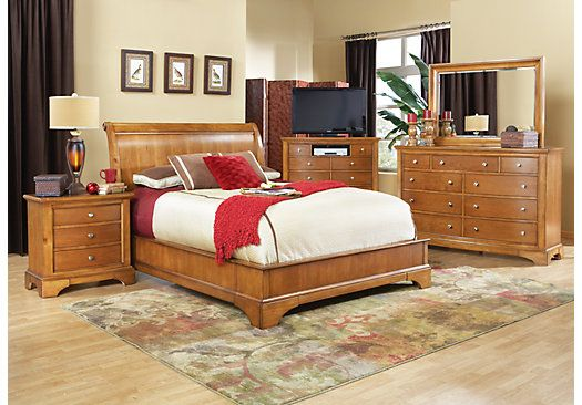 Shop for a Whitmore Pine Platform 5 Pc Queen Bedroom at Rooms To ...