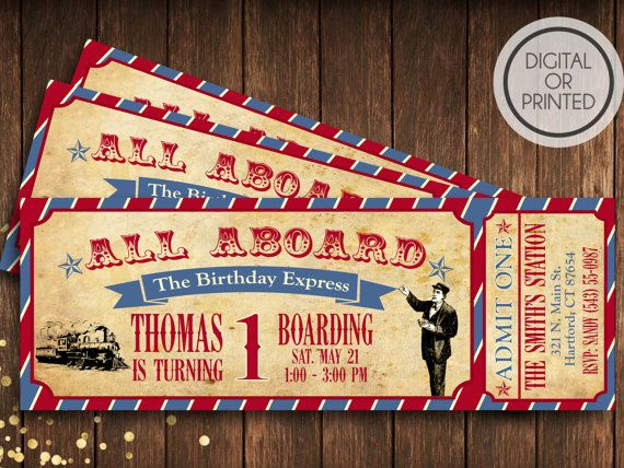 Create a beautiful vintage train birthday party for any age. Your guests will love to receive their ticket to your birthday party. The invitation is a high resolution 300dpi JPEG and PDF file and measures 2.5x 7. We value great customer service so we offer free color changes and