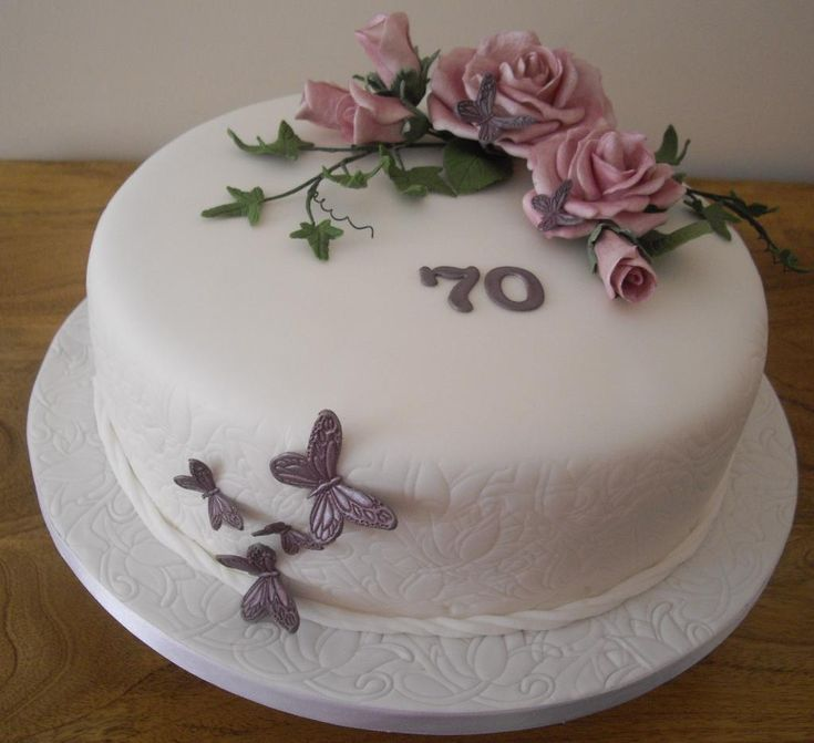 70th Birthday Cake Roses And Butterflies