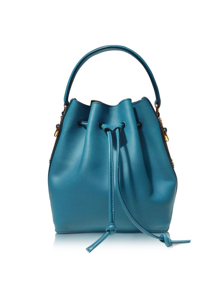 Sophie Hulme Teal Blue Small Leather Drawstring Bag at FORZIERI