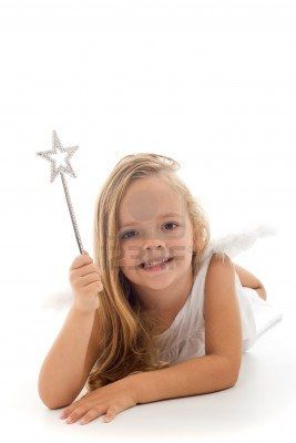 Little fairy with magic wand laying on the floor - isolated Stock Photo - 8344670