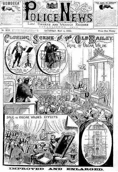 Newspaper depicting the trial against Oscar Wilde on charges of homosexuality. Wilde's time in prison greatly deteriorated his health and led to his death shortly after.
