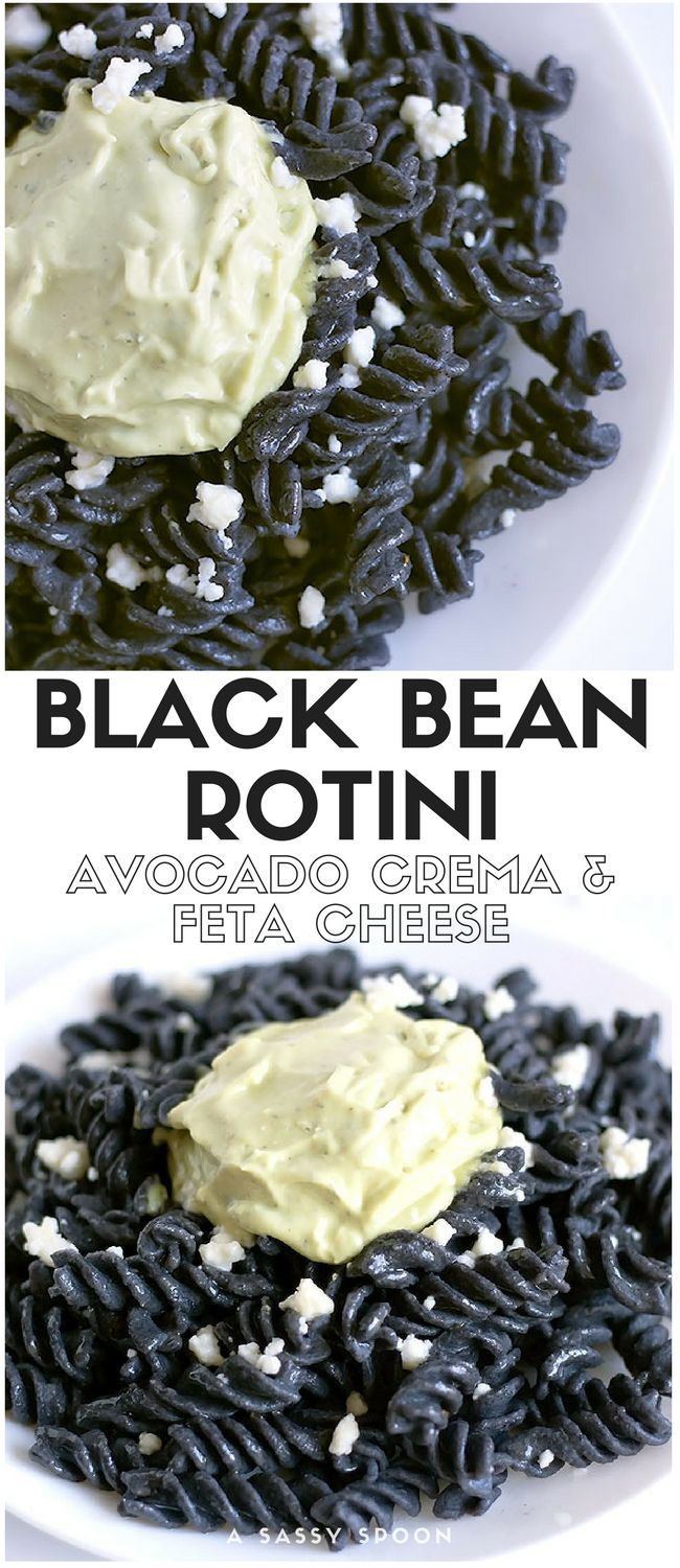 Protein packed dinner without the meat. Trader Joe's organic black bean rotini pasta topped with creamy avocado crema and feta cheese! via @asassyspoon
