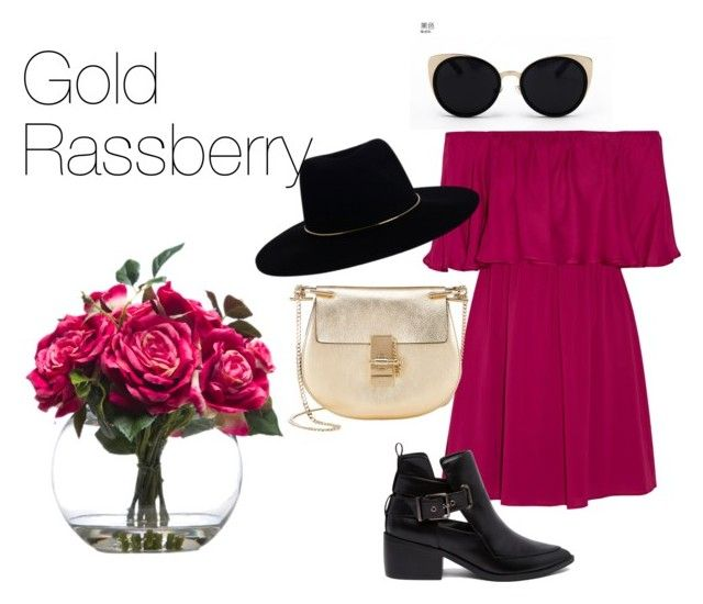 """Gold Rassberry"" by laurrao on Polyvore featuring Una-Home, Alice + Olivia, ASOS, Zimmermann, Chloé and Lux-Art Silks"