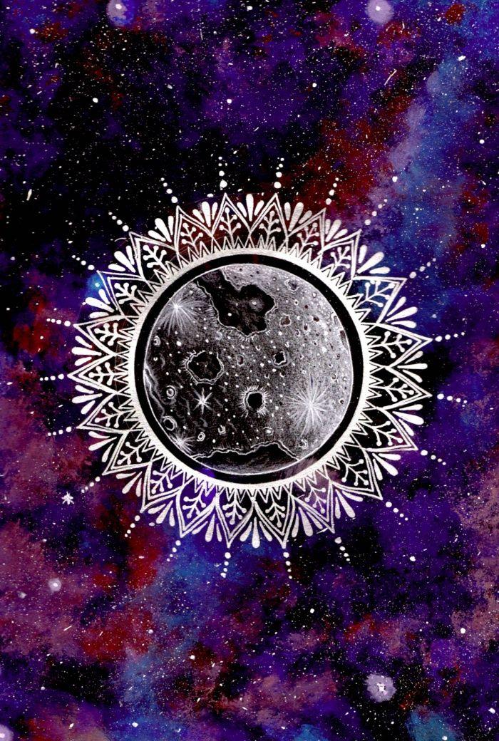 Funny Animated Hd Wallpapers Galaxy Moon Mandala Art Print In 2019 Galaxy Art
